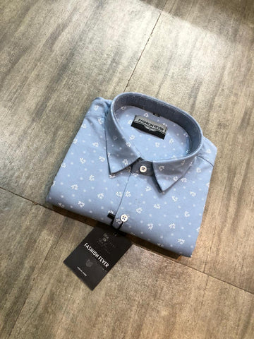 Light Sky Blue Color Premium Cotton Men'S Printed Shirt - FF0173
