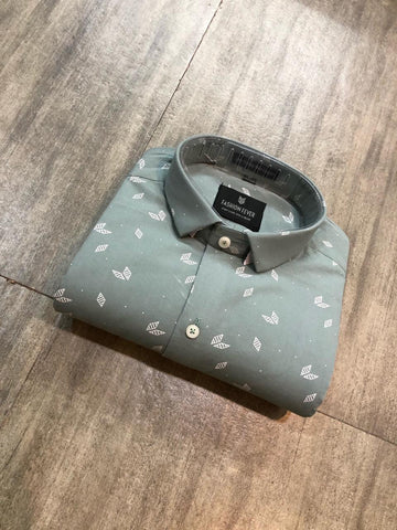 Grey  Color Premium Cotton Men'S Printed Shirt - FF0174