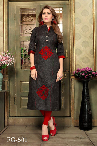 Black Color Khadi Cotton Stitched Straight Kurti - FG-501