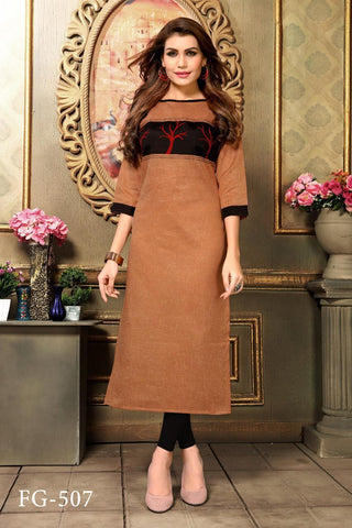 Brown Color Khadi Cotton Stitched Straight Kurti - FG-507