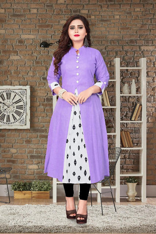 purple Color Khadi Cotton Stitched kurti  - FG-519