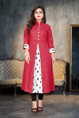 Buy Red Color Cotton Stitched Kurti