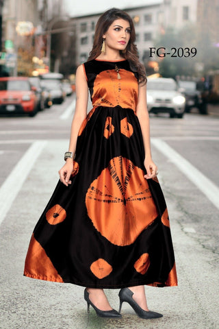 Peach and Black Color Taiwan Satin Women's Stitiched Kurti - FG2039