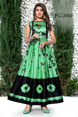 Green and Black Color Taiwan Satin Women's Stitiched Kurti - FG2040