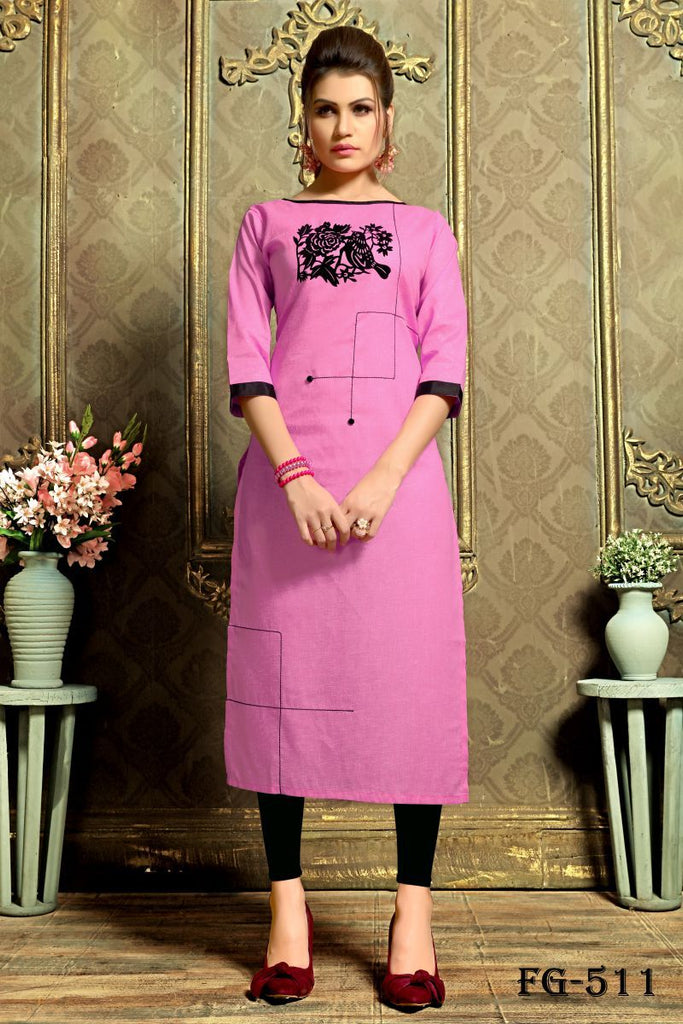Buy Pink Color Khadi Cotton Stitched kurti