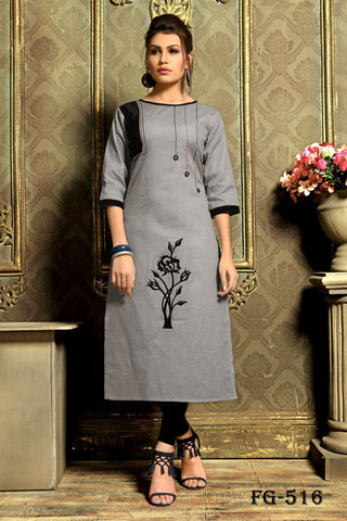 Grey Color Khadi Cotton Stitched kurti - FGA-516