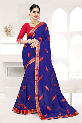 Navy Color Georgette Saree - FIONA-951
