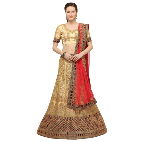 Beige Color Silk Semi Stitched Lehenga - FIONA29001