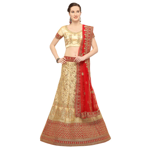 Beige Color Silk Semi Stitched Lehenga - FIONA29003