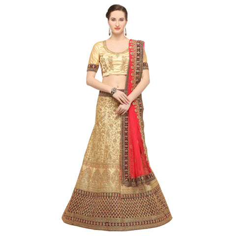 Beige Color Silk Semi Stitched Lehenga - FIONA29004
