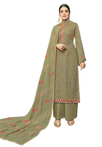 Beige Color Georgette Women's Semi Stitched Salwar Suit - FLORA2004