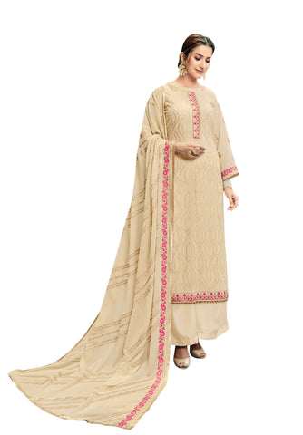 Off White Color Georgette Women's Semi Stitched Salwar Suit - FLORA2006