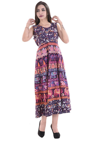 Multi Color Cotton Stitched Dress - FMD06