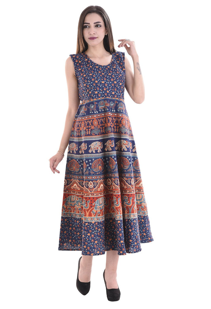 Buy Multi Color Cotton Stitched Dress