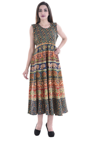 Multi Color Cotton Stitched Dress - FMD09