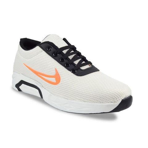 White Color Mesh Men's Sports Shoes - FOAI_a