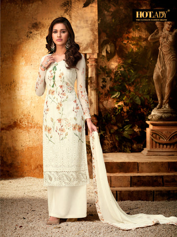 Beige Color Viscos Georgette Women's Semi Stitched Salwar With Palazzo - FULKARI-7171