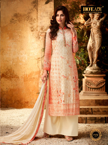 Beige Color Viscos Georgette Women's Semi Stitched Salwar With Palazzo - FULKARI-7172