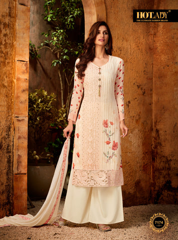 Beige Color Viscos Georgette Women's Semi Stitched Salwar With Palazzo - FULKARI-7174