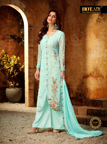 Sky Blue Color Viscos Georgette Women's Semi Stitched Salwar With Palazzo - FULKARI-7177