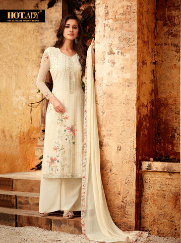 Cream Color Viscos Georgette Women's Semi Stitched Salwar With Palazzo - FULKARI-7178