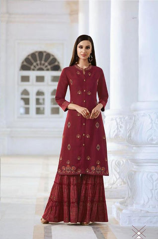 Maroon Color Fable Two Tone Slub Stitched Kurti - Fable-1111