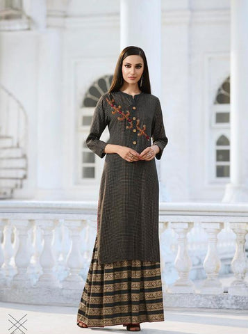 Dark Grey Color Fable Rayon Slub Stitched Kurti - Fable-1113