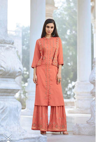 Peach Color Fable Two Tone Slub Stitched Kurti - Fable-1114