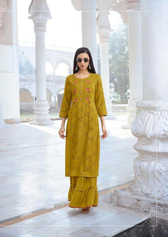 Mustard Color Fable Chiffley Rayon Stitched Kurti - Fable-1116