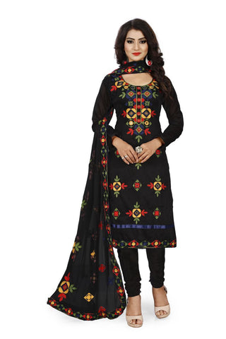Black Color Chanderi Silk Unstitched Dress Material - Fabric-Aari-Regular1-Black