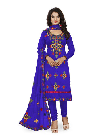 Blue Color Chanderi Silk Unstitched Dress Material - Fabric-Aari-Regular1-Blue