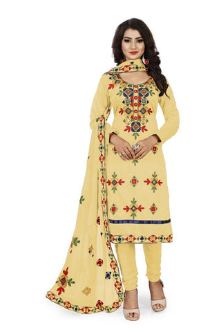Cream Color Chanderi Silk Unstitched Dress Material - Fabric-Aari-Regular1-Creme
