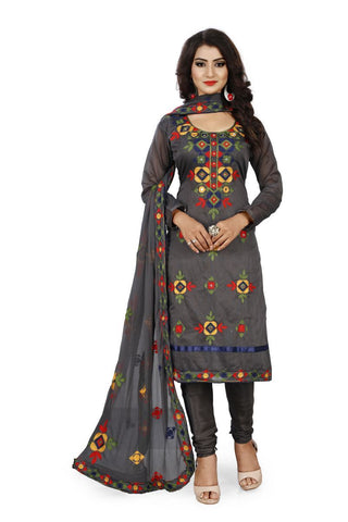 Grey Color Chanderi Silk Unstitched Dress Material - Fabric-Aari-Regular1-Gray