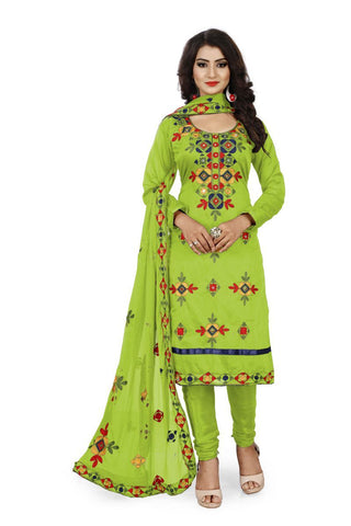 Green Color Chanderi Silk Unstitched Dress Material - Fabric-Aari-Regular1-Green