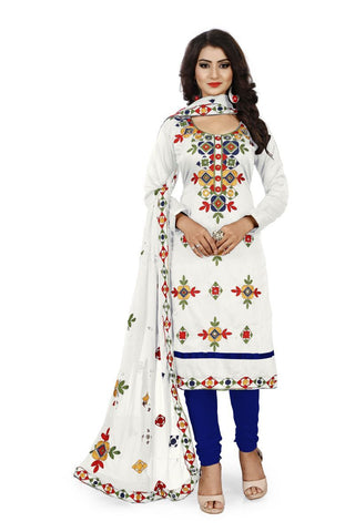 White  and Blue Color Chanderi Silk Unstitched Dress Material - Fabric-Aari-Regular1-White-Blue