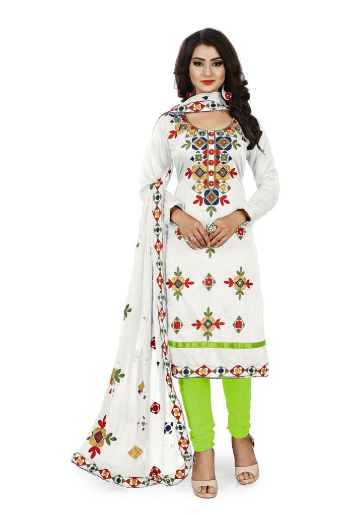 Buy White and Green Color Chanderi Silk Unstitched Dress Material