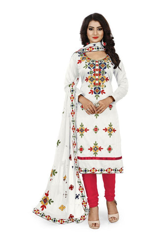 White and Red Color Chanderi Silk Unstitched Dress Material - Fabric-Aari-Regular1-White-Red