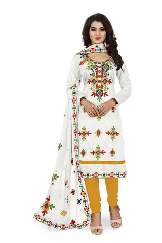 White and Yellow Color Chanderi Silk Unstitched Dress Material - Fabric-Aari-Regular1-White-Yellow