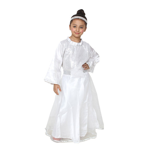 White Color Cotton Blend Fancy Costume Dress  - Fary Girl-1