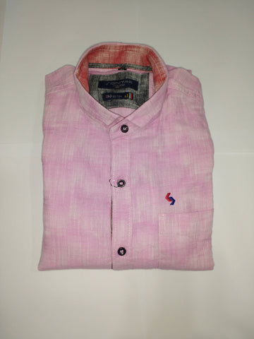 Pink Color Cotton Men's Shirt - Fashiontree01