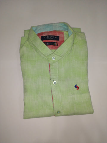 Pista Green Color Cotton Men's Shirt - Fashiontree02