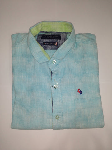 Blue Color Cotton Men's Shirt - Fashiontree04