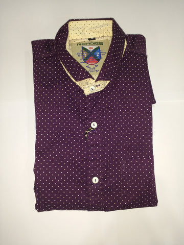 Purple Color Cotton Men's Shirt - Fashiontree06