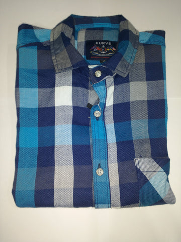 Blue  Color Cotton Men's Shirt - Fashiontree09