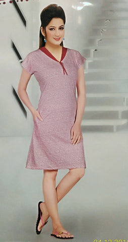 Pink Color Hoisery Cotton Stitched Night Dress - Fe-6195