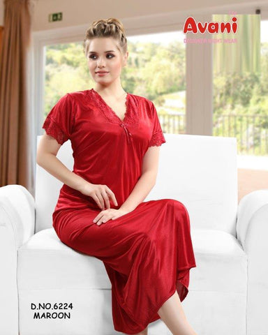 Maroon Color Jersy Fancy Stitched Night Dress - Fe-6224-Maroon