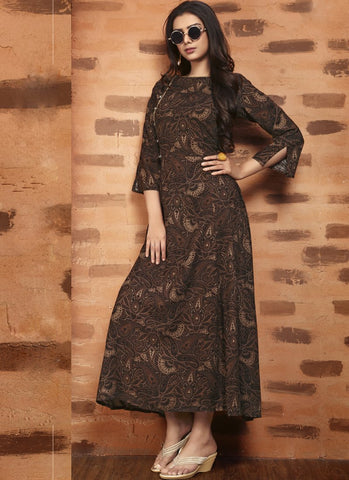 Brown Color Rayon Satin Stitched Kurti - Femina-1209