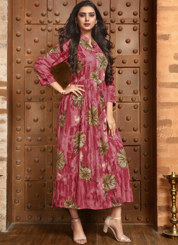 Pink Color Rayon Satin Stitched Kurti - Femina-1211