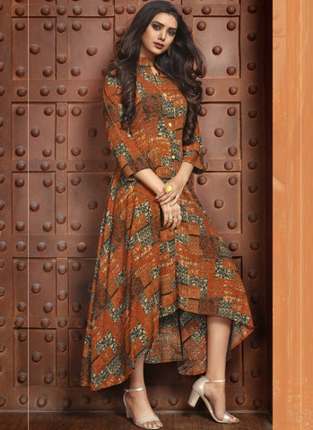 Light Brown Color Rayon Satin Stitched Kurti - Femina-1212