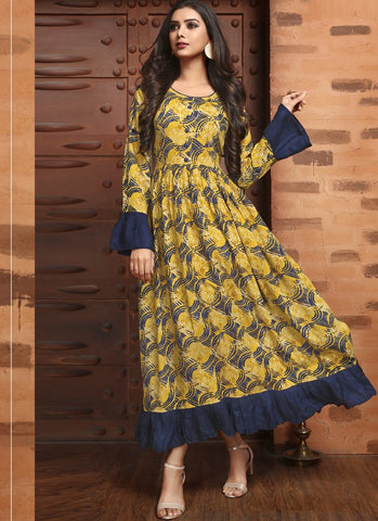 Yellow Color Rayon Satin Stitched Kurti - Femina-1213